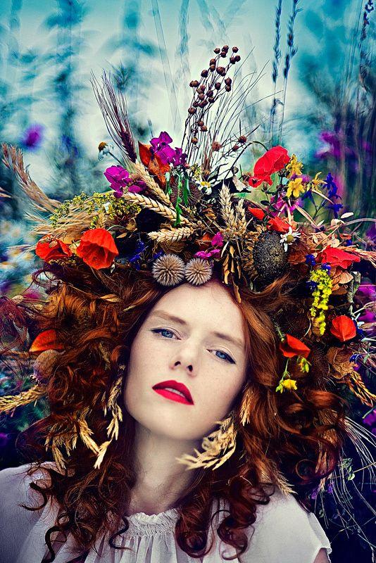 FLOWERY by Simona Smrckova, via Behance looks like she got drunk and ran into a wreath.