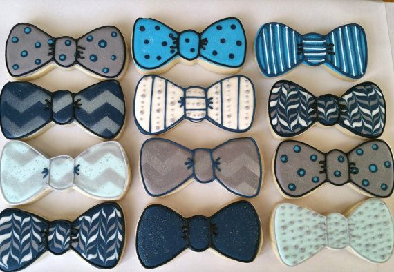 Fun dozen of bow ties. Perfect for a baby shower      Shipping within the United States only.  My goal is to create custom cookies to make any event memorable. I take great pride and care in my work. Cookies are package to the best of my ability to avoid any breakage, but I cannot control how the mail carrier handles the package. Regretfully I cannot offer any refunds due to mail carrier damage.  Though an allergen may not be listed in our ingredients, please note that everything is…