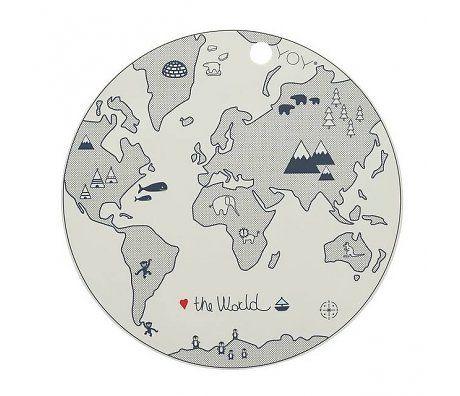 OYOY Vloerkleed de wereld zwart wit katoen Ø135cm