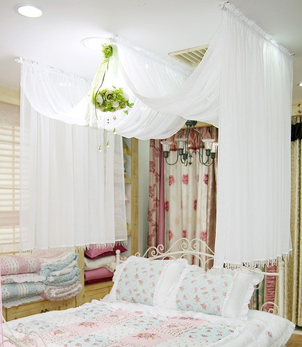 Chiffon Bed Canopy Romantic Bed Canopy White Color 122 x 228 inch New | eBay