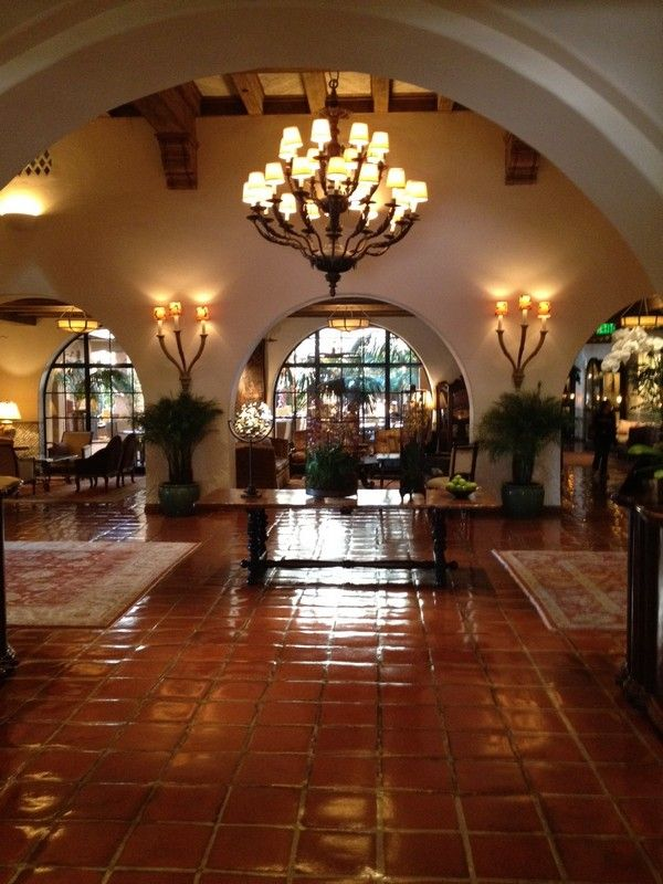 spanish style decorating | the spanish colonial style lobby at the four seasons Santa Barbara - I worked here for two years and this was my view daily for a year of that :) maybe this hotel influenced my love for my Spanish style home