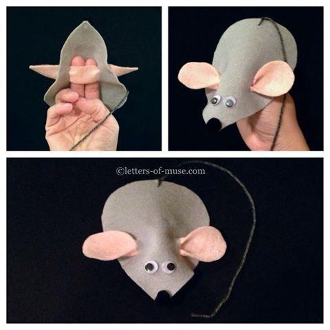Today's Chinese preschool craft: mouse puppet. 小老鼠 (xiǎo lǎo shǔ) is little mouse, 灰色 (huī sè) is gray, and 淚滴形 (lèi dī xíng) is teardrop shape.