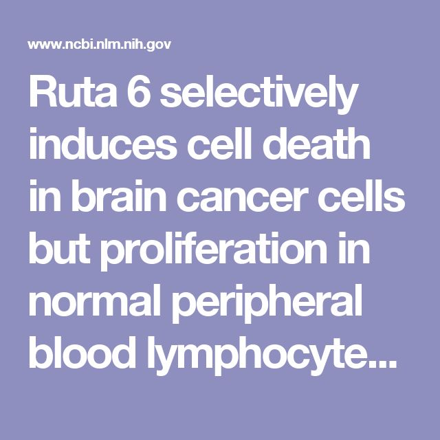 Ruta 6 selectively induces cell death in brain cancer cells but proliferation in normal peripheral blood lymphocytes: A novel treatment for human b... - PubMed - NCBI | Ruta graveolens https://www.ncbi.nlm.nih.gov/pubmed/12963976