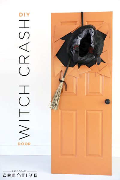 Witch Crash DIY door made using a laundry basket and foam witch legs. Halloween hacks, spooky doors, Halloween ideas, Halloween decorations, Halloween doors, witches