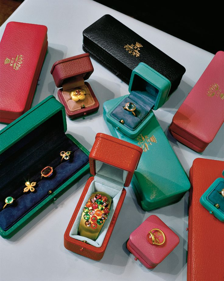 Boxes of hand-tooled leather contain a variety of de Taillac's creations.