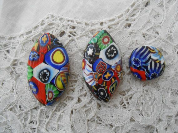 Antique millefiori glass beads x 3
