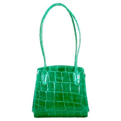 Green, croc-effect leather handbag