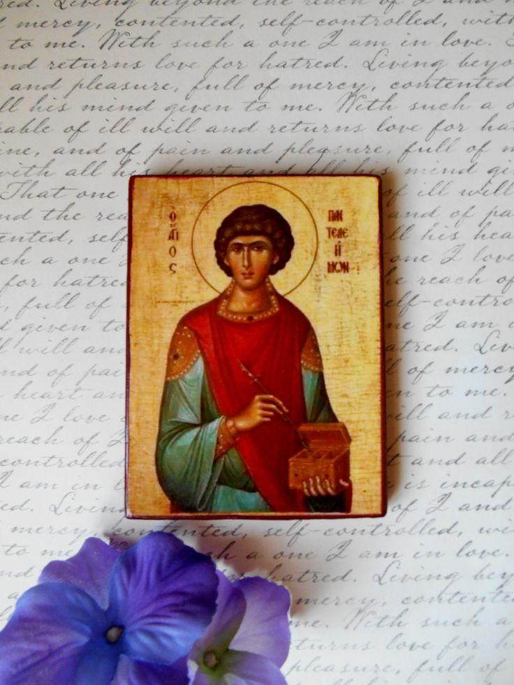Sale Religious Icon Saint Pantaleon Panteleimon Handmade Decoupage 3 1/2 X 4 5/8 Orthodox Icon Catholic Icon Holy Helpers Byzantine Icon by SpiritualGiftGallery on Etsy