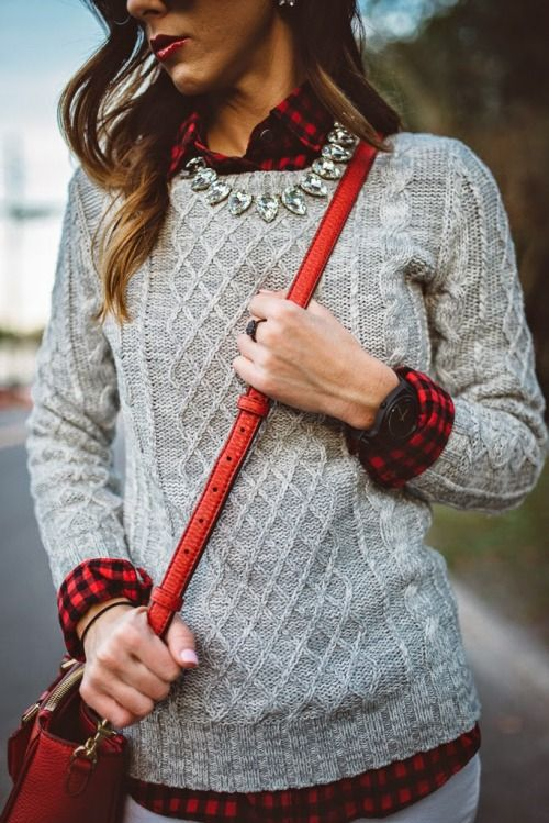 #street #style flannel cable knit @wachabuy