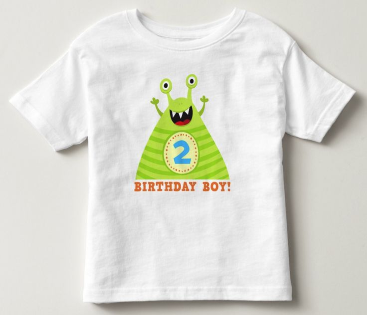 """Second birthday shirt for boys. This 2nd birthday party tee shirt features an illustration of a funny little monster with the number two (2) on his belly. He is cheering and looking happy. Below is the text """"birthday boy"""". Add a custom name or other text. A fun and colorful t-shirt design for a little boy's 2:nd birthday party."""