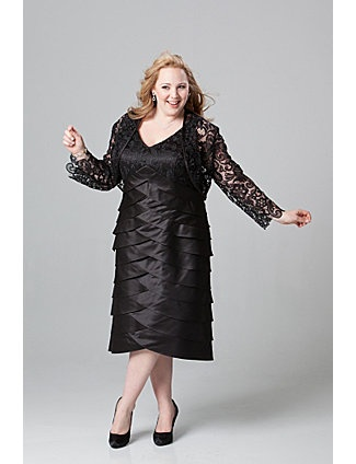 Stunning jacket dress in plus sizes perfect for cocktail party, wedding guest, dinner or cruise.  Slimming V-neckline. Bra-friendly straps. Tiered skirt flatters full figure. Matching lace long sleeve bolero jacket.  Available in sizes 14 to 32. sonsi.com