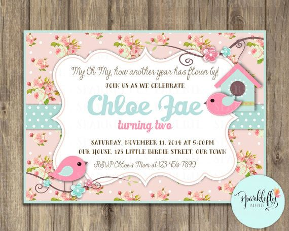 Welcome to Sparklefly Paperie!    A very sweet little bird themed invitation set on a shabby chic floral background and a polka dot ribbon in