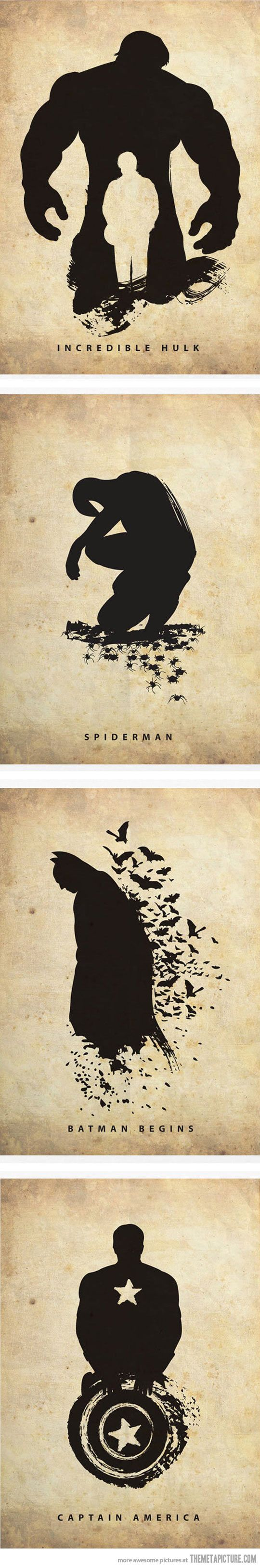 Silhouettes of famous superheroes…
