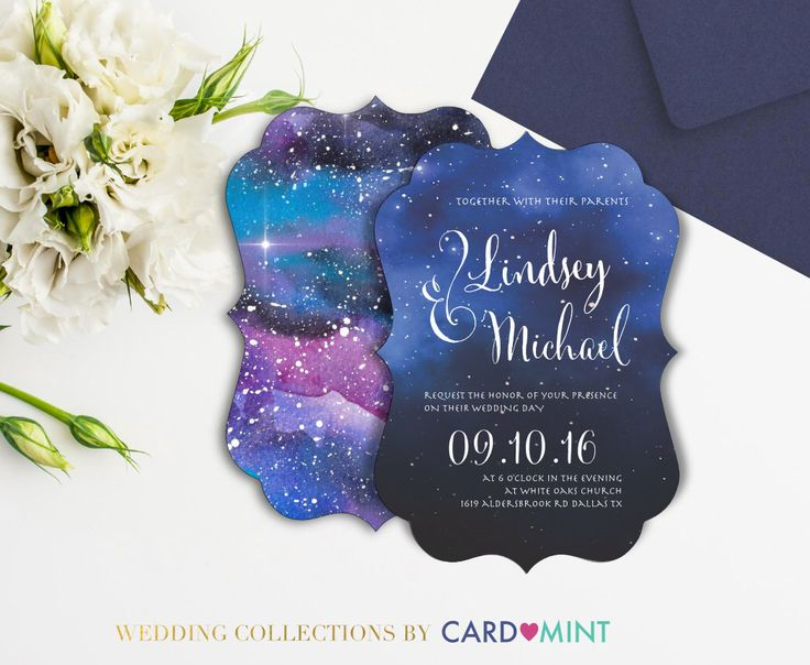 A personal favorite from my Etsy shop https://www.etsy.com/ca/listing/400213085/galaxy-wedding-invitations-set-package