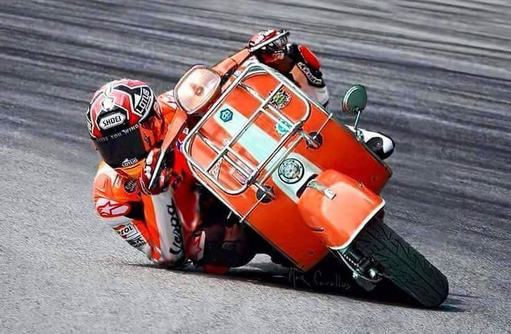 love this picture! Marc Marquez riding a Vespa very hard