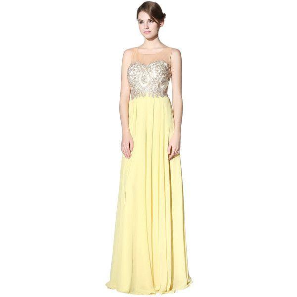 Rhinestone Embellished Zipper Back Chiffon Bridesmaid Dress ❤ liked on Polyvore featuring dresses, beige cocktail dress, bridesmaid dresses, beige dress, chiffon dress and chiffon cocktail dress