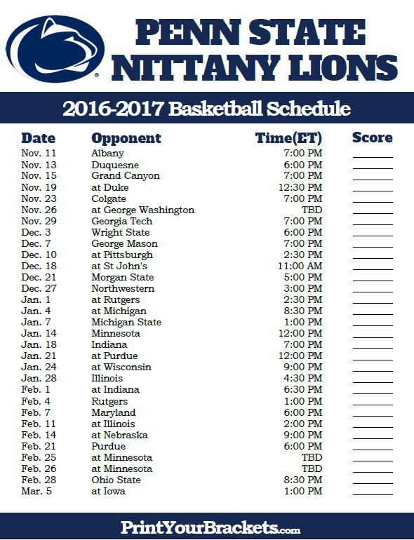 Penn State Nittany Lions 2016-2017 College Basketball Schedule