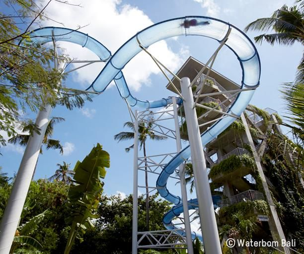 The new Pipeline slide at the famous Waterbom Bali waterpark, Indonesia is perfect for thrill-seekers young & old alike! Don't miss the number one water theme park in Asia during your Balinese holiday! Book your dream break online now at www.dreamdestination-holidays.com for great prices in Bali & worldwide! Holidays, travel, vacation, honeymoon, amusement parks.