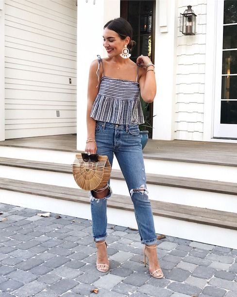 $30 - $60 Blue And White Asymmetrical Striped Babydoll Strappy Cami Strappy Crop Top With Casual Ripped Frayed Light Blue Hipster Denim Jeans And Statement Oversized Silver Dangle Earrings Tumblr