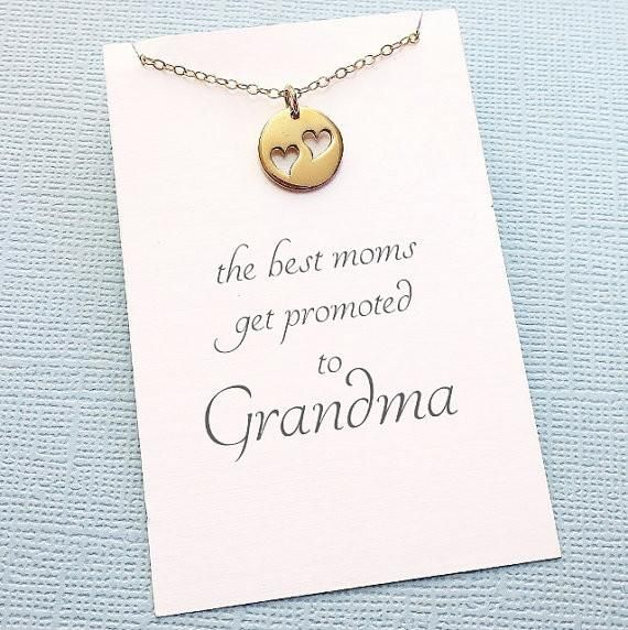 Heart Necklace for Grandma | Mother's Day Gift | Gifts for Grandma | Heart Disc Necklace | Grandma Necklace | Silver or Gold | M15