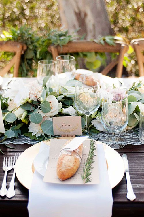 Debra and Matt Elegant Backyard Santa Barbara Wedding, Reception Tables with Floral Runner