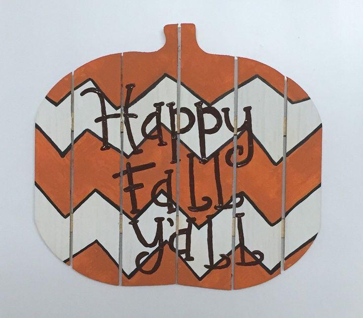 Happy Fall Y'all Pumpkin, wood chevron pumpkin, Fall decor, Halloween decoractions, wood pumpkin, Fall door hanger, wood pumpkin sign by PeavyPieces on Etsy