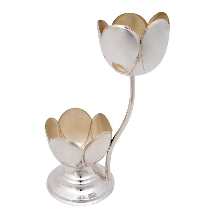 Silver Gifts Double Floral Diya Grt Jewellers Silver