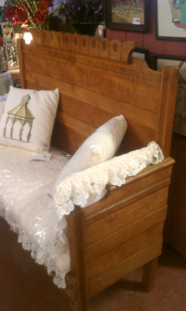 Bench Made Out Of A Bed Headboard For The Back And The