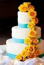 Wedding Cake Idea(Teal & Yellow)