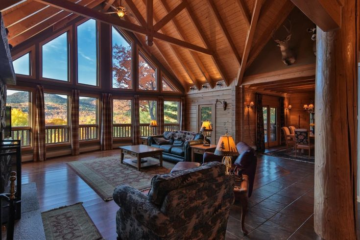 Great Room   Black Bear Lodge   log home