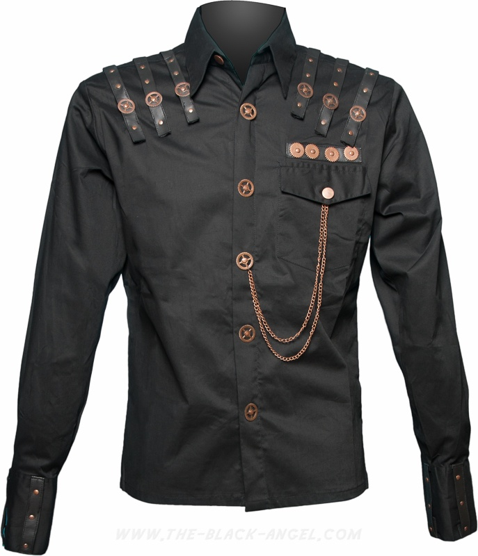 Gothic steampunk shirt by Raven SDL, with long sleeves and brass cogs & gear detail.