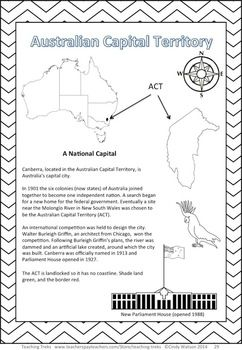 Australian Capital Territory (ACT) Mapping and Information Activity from the 56 page pack, AUSTRALIAN GEOGRAPHY TEACHING TREK, including 24 critical and creative thinking Task Cards, 14 mapping activities, 80 Word Wall cards and 3 printable posters. $