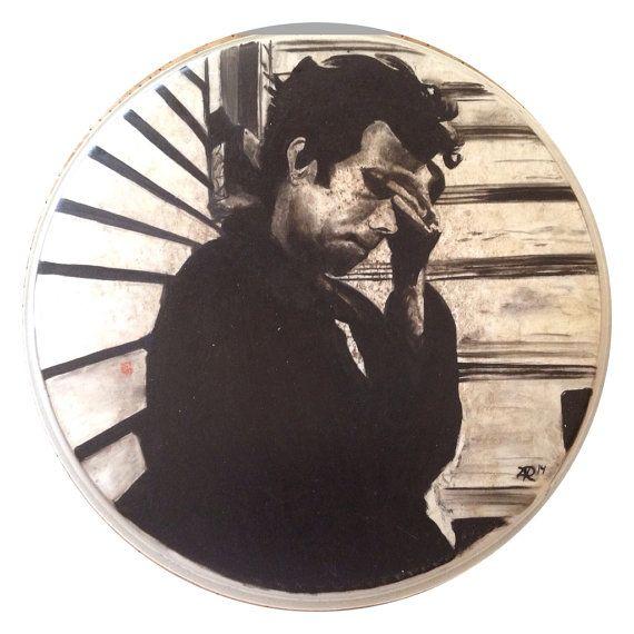 Tom Waits on used drum head on Etsy, $180.00 CAD