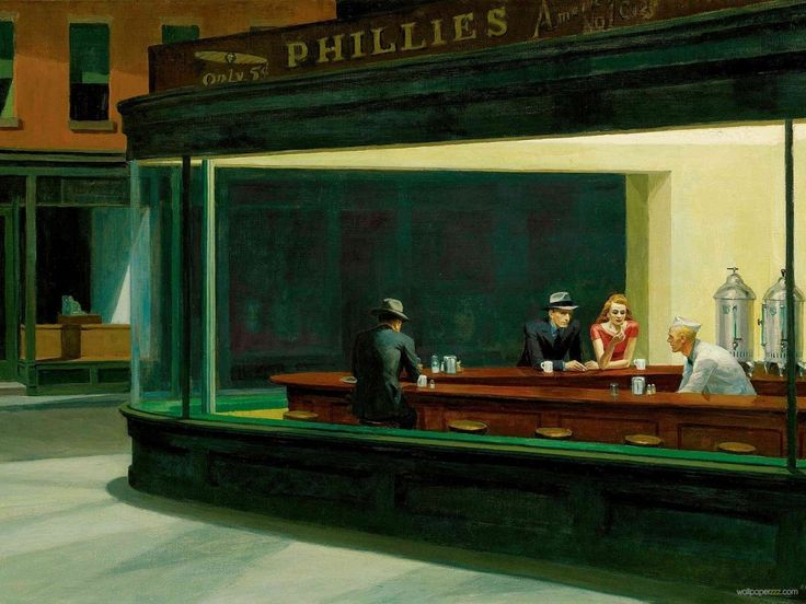 edward hopper | Download 'Nighthawks' By Edward Hopper Wallpaper—Free Wallpaper