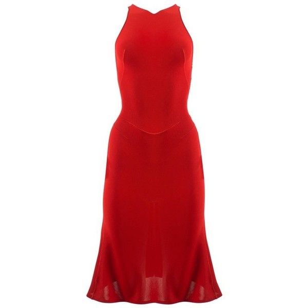 Preowned Alaia Autumn-winter 2001 Couture Red Knitted Mid Length... ($2,229) ❤ liked on Polyvore featuring dresses, red, preowned dresses, red cocktail dress, mid length dresses, red couture dresses and couture dresses