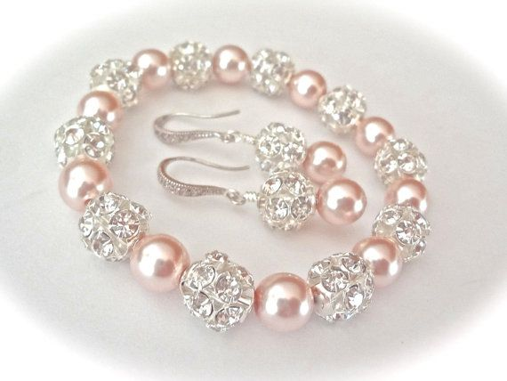 Pearl bracelet and earring set  Chunky  Swarovski pearls and