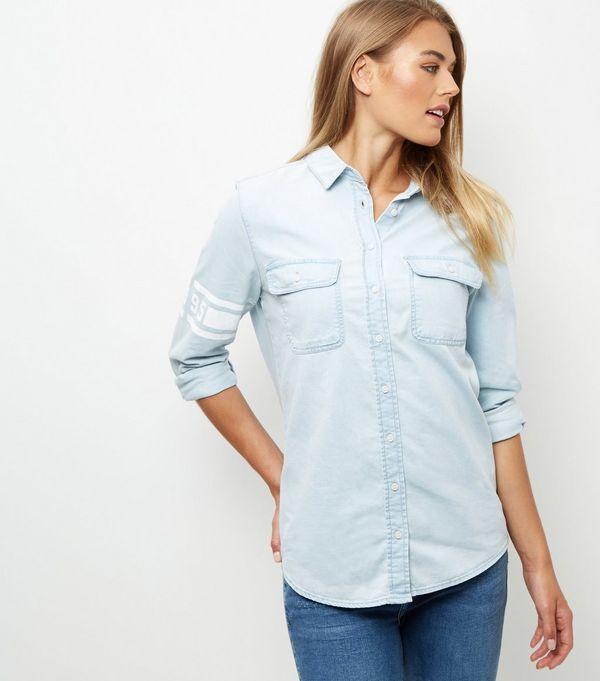 Light Blue Denim Oversized Long Sleeve Shirt  | New Look