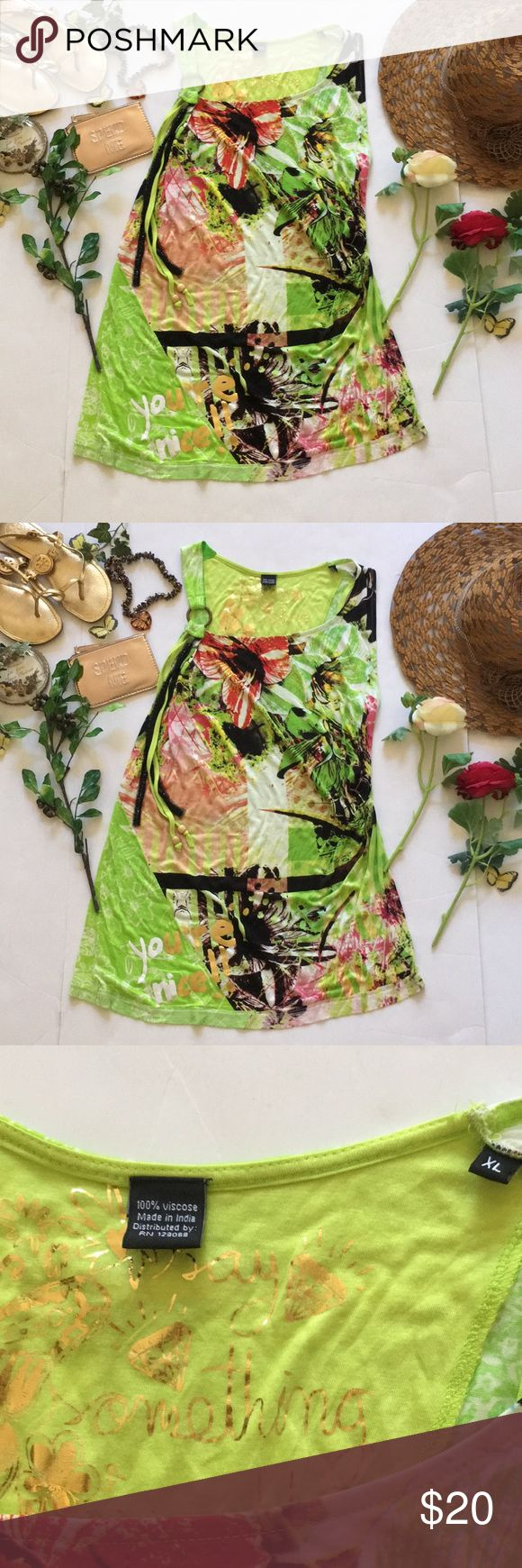 ❤Desigual Top❤ ❤In good used condition sleeveless top by Desigual in size XL❤shows minor sign of wear such as slight pilling❤Material is stretchy❤Please see all photos❤ Desigual Tops