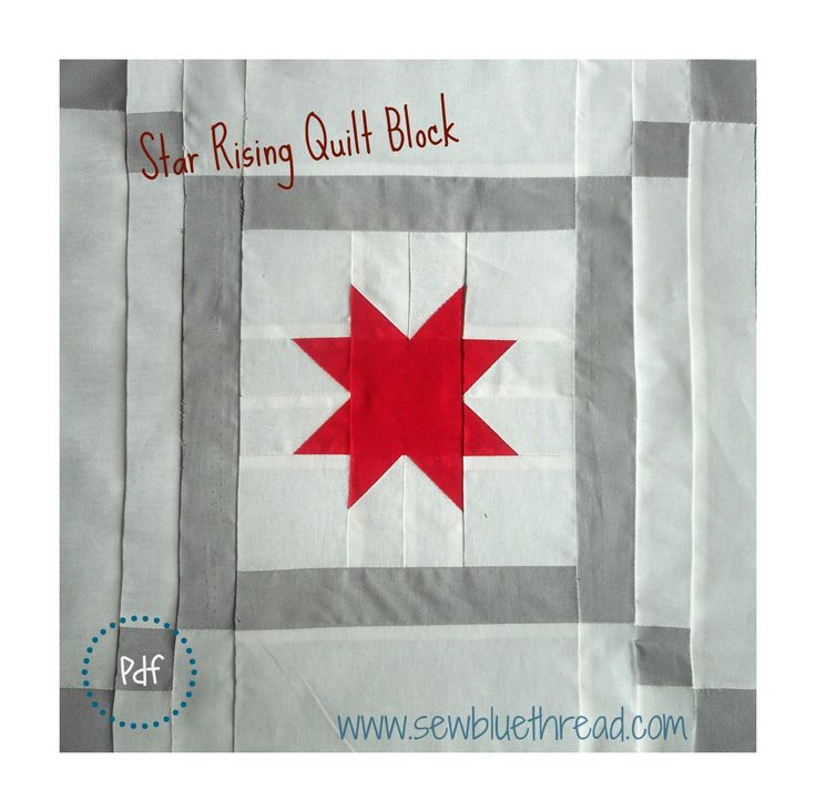 Star Rising Quilt block pattern.  Great to use on quilt projects. You can find pdf downloadable block pattern in the shop 'Sew Blue Thread'.