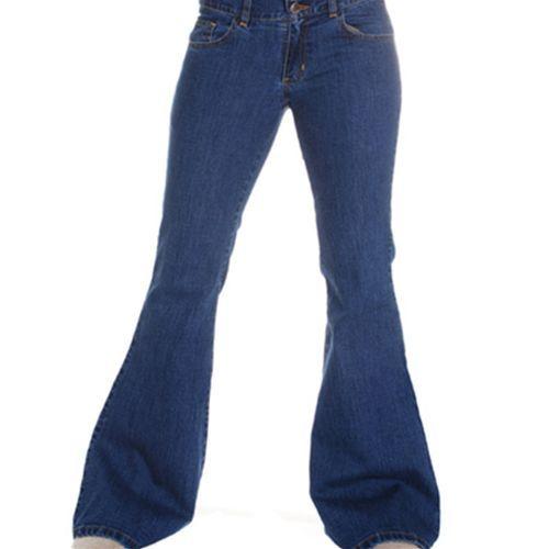 Flare jeans wijde pijpen broek dames blauw - Indie Retro 60's 70's