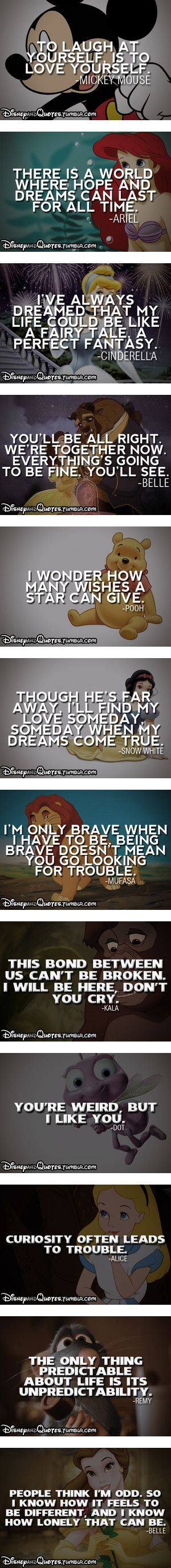 Disney Character Quotes and life lessons