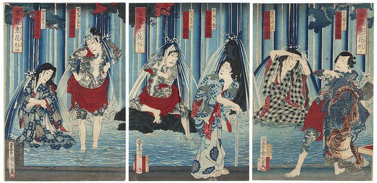 """Kabuki Stars at a Blessing Waterfall"", 1889 by Kunichika (1835 - 1900); Japanese woodblock print #japan #art #japanese #waterfall #tattoo #handmade"