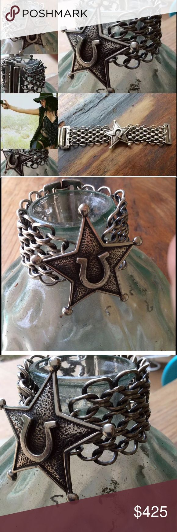 """Sterling Silver .925 Woven Chain Vintage Star Cuff Laguna Beach Silver Jewelry Artist  Original Price $695, All Sterling Silver 925!!   Artisan Handmade Western Style   Omega Texas Star Chain Link Bracelet..   Beautiful Sterling Barrel Lock Close   Length Measures 8""""   Width Measures 1.5""""   Silver Horse Shoe Star 2"""" x 2""""   One of a Kind, Artisan Handmade   Comes on Custom Pouch Artisan Silver Jewelry Bracelets"""