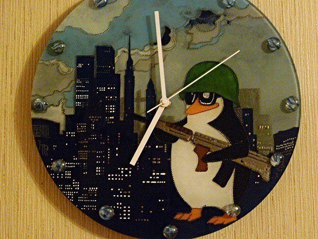 Часы, витражная роспись, точечная роспись