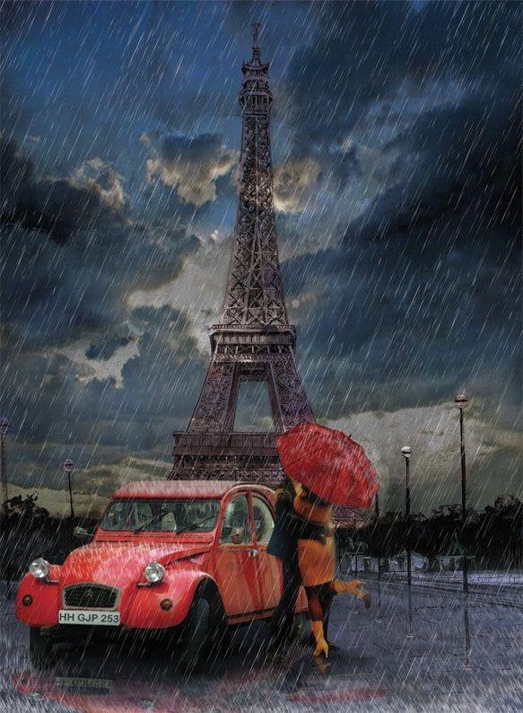 Art Puzzle 1000 Parça Eyfel, Yağmur, Aşk