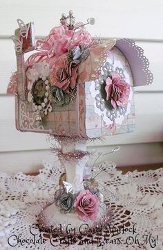 Chocolate Crafts and Bears, Oh My!-Altered mailbox tin and candlestick