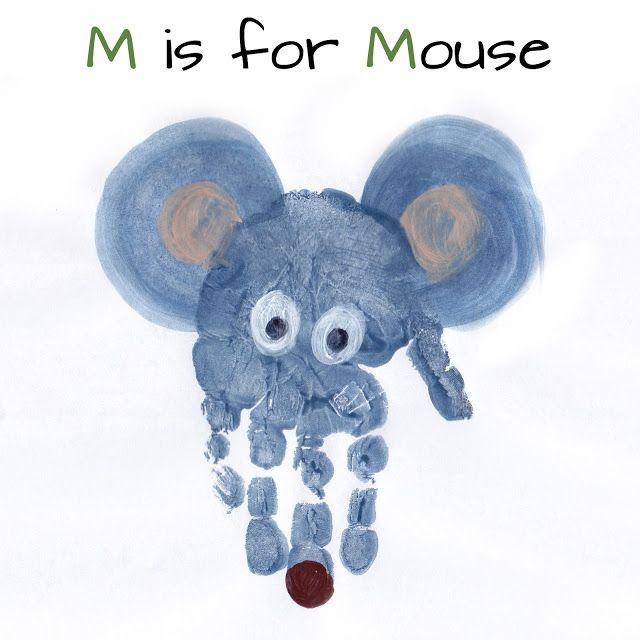 Mommy Minutes: Alphabet Handprint Art Letter M is for Mouse #alphabet #preschool #education