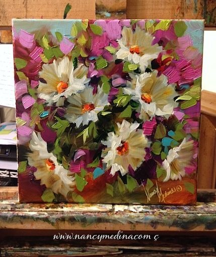 On the Brink of Pink Daisies, Flower Paintings by Nancy Medina, 12X12, oil www.nancymedina.com