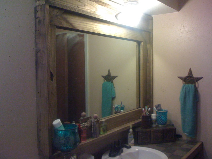 We Took The Old Plain Vanity Mirroradded Some Barn Fence Wood And Stylebrand New Country Western Mirror