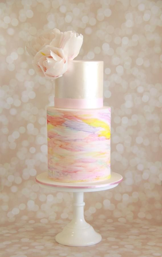 Water colour and rice paper peonies - Cake by Savannah